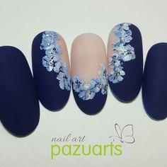 Great Nails, Perfect Nails, Gorgeous Nails, Navy Nails, Magic Nails, Nail Art Set, Floral Nail Art, Gelish Nails, Best Acrylic Nails