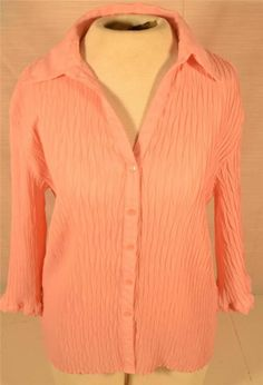 Pretty Size Large E. K. Designs Ruffled Pink 100% Polyester Blouse