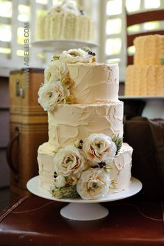 Textured Vintage Wedding Cakes and simple is the best way to go with cake - no smooth icing please!