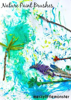 How to make nature paint brushes. An easy outdoor process art activity for kids, toddlers, preschoolers, eyfs. A summer and spring projec Art Activities For Toddlers, Outdoor Activities For Kids, Spring Activities, Craft Activities, Outdoor Games, Process Art Preschool, Preschool Art, Kindergarten Art, Puzzle Crafts
