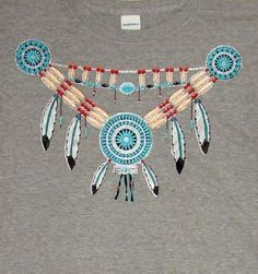 Native American Turquoise Color Necklace Image on Womans T Shirt  M L XL 2XL #DeltaQuailHollowAnvilGildan #GraphicTee