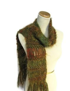 Sale Hand Knit Scarf  Green Rust Copper by ArlenesBoutique on Etsy, $35.00 #scarf