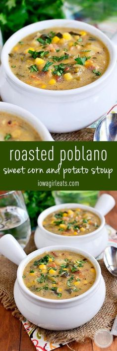 Thicker than soup but thinner than stew, Roasted Poblano, Sweet Corn and Potato Stoup is warming and filling. You will go back for bowl after bowl! #glutenfree | iowagirleats.com Stuffed Poblano Peppers, Roasted Poblano Peppers, Vegan Creamed Corn Recipe, Roasted Potato Soup Recipe, Vegan Potato Soup, Corn Soup Recipes, Spicy Corn Chowder Recipe, Recipes With Potatoes, Chili Recipes