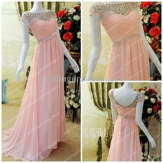 Wholesale Evening Dresses - Buy Bateau Crystals Sheer Neckline Long Pink Evening Dresses Vintage Short Sleeves Criss Cross Ruched Bodice Elegant Women Formal Prom Gowns Hot, $139.99 | DHgate