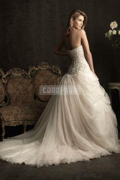 Organza Asymmetric Chapel Train Pleats Ball Gown Wedding Dress - Cobbprom.com