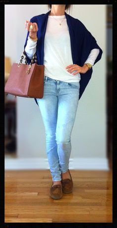 Classy casual & comfy outfit- white Michael Kors long sleeve sweater, Light blue jeans from Zara, Navy blue shawl from Zara, light brown Ugg slipper loafers, Light brown Michael Kors tote, MK gold watch, Coach white & gold bracelet, Ralph Lauren beaded gold bracelet, coach diamond & gold ring, Vince Camuto diamond & gold statement ring