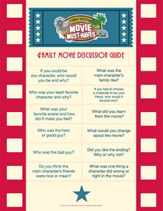 A great printable for a Family Movie Discussion. FREE Printable from All Pro Dad