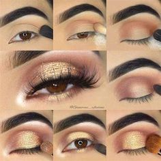 Make-Up brown Eye Eyes Glitter Gold Makeup Pinspace Tutorial Gold Glitter Eye Makeup Tutorial for Brown Eyes Pinspace # eyes # for Eye Makeup Steps, Natural Eye Makeup, Smokey Eye Makeup, Makeup For Brown Eyes, Skin Makeup, Eyeshadow Makeup, Makeup Brushes, Beauty Makeup, Natural Beauty