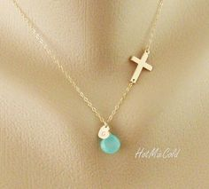 Personalized Sideways cross Necklace, Initial charm Necklace, Monogram Heart Necklace, Birthstone Jewelry, Child Mothers Necklace  Very simple yet timeless necklace for everyday or birthday's gift.