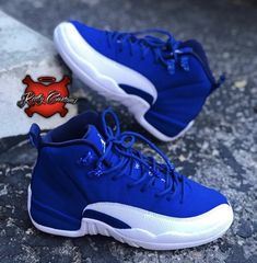 "Apr 2020 - Custom ""Blueberry Glitter"" Air Jordan XII – Katty Customs Jordan Shoes Girls, Jordans Girls, Girls Shoes, Air Jordans, All Blue Jordans, Shoes Women, Air Jordan Sneakers, Nike Air Shoes, Nike Footwear"