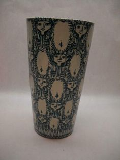 Vase, Face Design, Denmark, 1960s, Teal, Artist, Kunst, Artists, Sixties Fashion