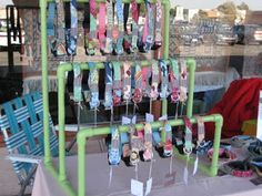 PVC Pipe rack:  good idea for hanging wind chimes and sun catchers...
