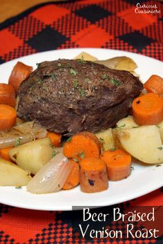 Braising is the perfect technique for cooking venison roasts and this Beer Braised Venison recipe brings a German flair and intense flavor that are destine to be a family favorite.   www.curiouscuisiniere.com
