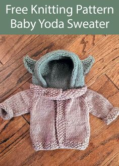 NO LONGER FREE Knitting Pattern for Baby Yoda Baby Sweater - Baby cardigan with hood inspired by the Star Wars The Mandalorian baby alien. The sleeves roll up and the hood cinches down for an adjustable fit. Designed by Arianna Soloway. Baby Knitting Patterns, Crochet Pattern Free, Knit Or Crochet, Baby Patterns, Free Knitting, Crochet Baby, Crochet Patterns, Knit For Baby, Sock Knitting