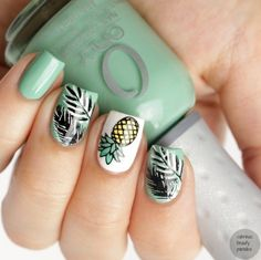 Pineapple Stamping Nailart with Bornprettystore https://www.facebook.com/shorthaircutstyles/posts/1759166217707151