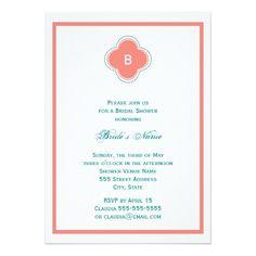 Monogram Coral Pink and Teal Quatrefoil Wedding