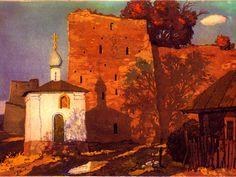 Вечер в Старом Изборске, цветной офорт В.Зорина ,1999, 18 х 25