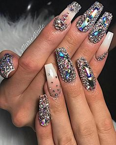Diamond nail design white and pink nails coffin acrylic fingernail designs with diamonds jewels Diamond Nail Designs, White Nail Designs, Pretty Nail Designs, Dope Nails, Glam Nails, Bling Nails, Bling Bling, Sparkle Nails, Elegant Nails
