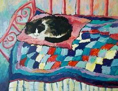 Sleeping cat on pink blue quilt painting giclee by everygoodcolor, $35.00