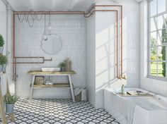 Carrelage mur salle de bain retro