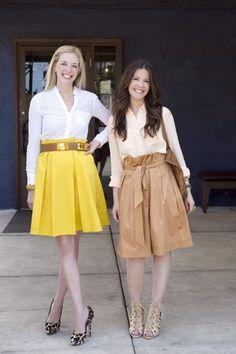 Left:  BCBG blouse, Marni Skirt, Miu Miu platform pumps, Hermès belt