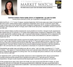 """September MarketWatch is in - """"the incentive to list a home is still high...""""  Call your favorite REALTOR at 317-480-7966!"""