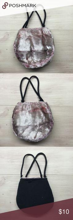 Velvet pink ombré pouch purse Velvet pouch purse small soft pink ombré lined with soft black material . Crochet handles delicate but sturdy apple for Sz ;) no brand Bags Mini Bags