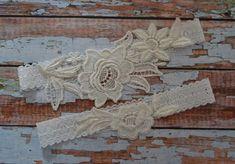 Ivory Wedding Garter Set, Ivory Lace Garter, Bridal Garter, Wedding Garter, Ivory Floral Garter, Bridal Garter Set, Lace Garter Belt, IV2 by SpecialTouchBridal on Etsy