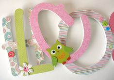 Custom Wooden Letters  Bright Owls Theme  Lime Green by LetterLuxe