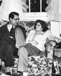 Katharine Hepburn and Cary Grant on the set of Bringing Up Baby (1938)