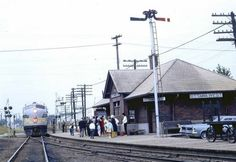 """OTTAWA WEST STATION, Ontario - This wonderfully evocative picture was taken by Bill Linley on 31 July It shows Canadian Pacific train No. """"The Dominion"""" from Vancouver to Montreal coming into the station at Ottawa West. Ontario, Freight Transport, Ottawa Valley, Canadian Pacific Railway, Train Stations, Old Trains, Canada, Architecture, Montreal"""