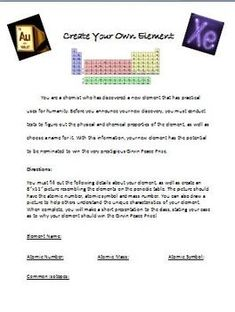 A great project for any level chemistry class! Create your own element! Uses knowledge of the periodic table and other basic chemistry. A must activity for a fun classroom environment!