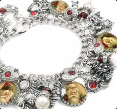Celebrate the holidays with this gorgeous Santa charm bracelet created with vintage images from the 1920's, ivory fresh water pearls, swarovski crystals in ruby set into hearts, 14 charms, with over 3