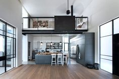 """archatlas: """"Tel Aviv Suberbe Residence Neuman Hayner Architects The house was planned for a family of four. Two cubes separated by a passage combine into an """"L"""" shaped house. The front cube, of double. Sweet Home, Loft Mezzanine, Loft Design, House Design, L Shaped House, Decoracion Vintage Chic, Style Loft, Mediterranean Style Homes, Modern Loft"""