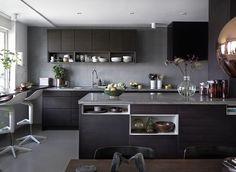 Bistro ask brunbets Open Plan Kitchen Living Room, Kitchen Room Design, Home Decor Kitchen, Kitchen Interior, Bistro Kitchen, Kitchen Dining, Modern Home Interior Design, Design Apartment, Kitchen Worktop