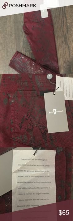 7 For All Mankind Snake Jeans I am this great pair of jeans that are by 7 For all mankind! These burgundy/wine colored jeans or a high gloss snake print! New with tags. If your favorite team is a burgundy color these are fabulous for game day! 7 For All Mankind Jeans Skinny