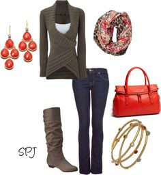 wrap sweater. coral purse. coral dangles. skinnies. slouch boot.