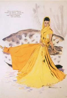 Fashion illustration by Pierre Mourgue, June 1940, Evening dress by Molyneux, Harper's Bazaar.