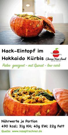 Toller Hackeintopf im Hokkaido Kürbis - dieses Rezept eignet sich wunderbar, jetzt da die Kürbiszeit wieder startet - der Hokkaido Kürbis bringt jede Menge toller Nährstoffe mit sich und eignet sich hervorragend für paleo rezeptideen und die steinzeit ernährung Zutaten: 2 kleine Hokkaido Kürbisse 300g Beef Hackfleisch (normales Rinderhackfleisch geht auch, Beef Hack ist fettärmer!) 200g Spinat 2 Karotten 2 Knoblauchzehen 1 Zwiebel 60g Cashewkerne 2 TL Currypulver 1 TL Paprikapulver 1 Ei