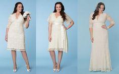 Tres largos diferentes para novias, ¿con cuál te quedas? | Vestidos para matrimonio civil para gorditas de moda!                                                                                                                                                                                 Más