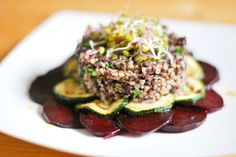 grilled zucchini and beets with barley and black pudding #recipe #blog #food