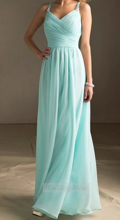 Tiffany Blue Bridesmaid Dress Long Dress with door WeddingBless