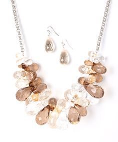 Look at this Ethel & Myrtle Brown Faceted Teardrop Cluster Bib Necklace & Earrings on #zulily today!