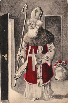Everything about St Nicholas: stories, customs, crafts & more. Father Christmas, Little Christmas, Vintage Christmas, Merry Christmas, Vintage Images, Vintage Posters, Christmas Traditions, Winter Wonderland, Saints