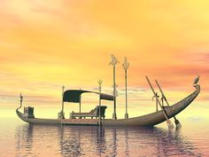 Egyptian Sacred Barge With Throne - Render by Elenarts - Elena Duvernay Digital Art Boat Art, Titanic, Egyptian, Fine Art America, Digital Art, Sunset, Canvas, Water, Boats