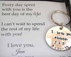 Groom gift from Bride key chain Bride to GROOM by SoBlessedDesigns