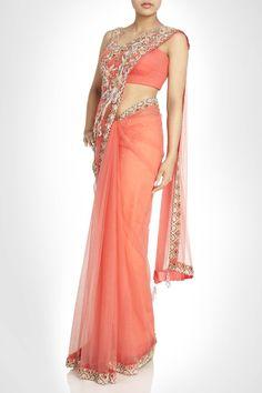Peach color net saree – Panache Haute Couture