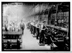 An assembly line at Vickers, Sons & Maxim Gun Factory, c1901.   #history #manufacturing #historicpictoric
