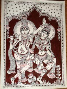 Kalamkari paintings, traditional and contemporary. Kalamkari Painting, Madhubani Painting, Kerala Mural Painting, Indian Art Paintings, Ganesha Art, Krishna Art, Dancing Drawings, Art Drawings, Mandala Art Lesson