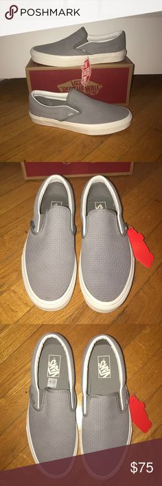 ba99a2f4c5 Shop Men s Vans Gray White size 9 Sneakers at a discounted price at  Poshmark. Vans Classic Slip-On